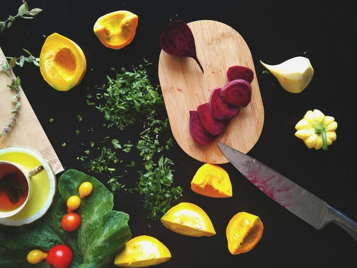 Fall Vegetables Autumn Vegetables Studio Shot Black Background Food And Drink Preparation  Table Ingredient Directly Above Food Healthy Eating Fresh Food Cooking Kitchen Art Pumpkins Vegetables Freshness Organic Flatlay Fresh From My Garden Herbs Beetroots Cutting Board Cutting Knife