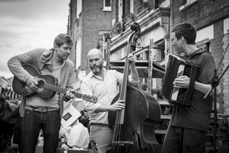 Arts Culture And Entertainment Guitar Jazz Music London Music Musical Instrument Musical Instrument String Musician People Performance Performance Group Playing Plucking An Instrument Real People Skill  Street Musicians Street Photography Teamwork The Street Photographer - 2017 EyeEm Awards Togetherness