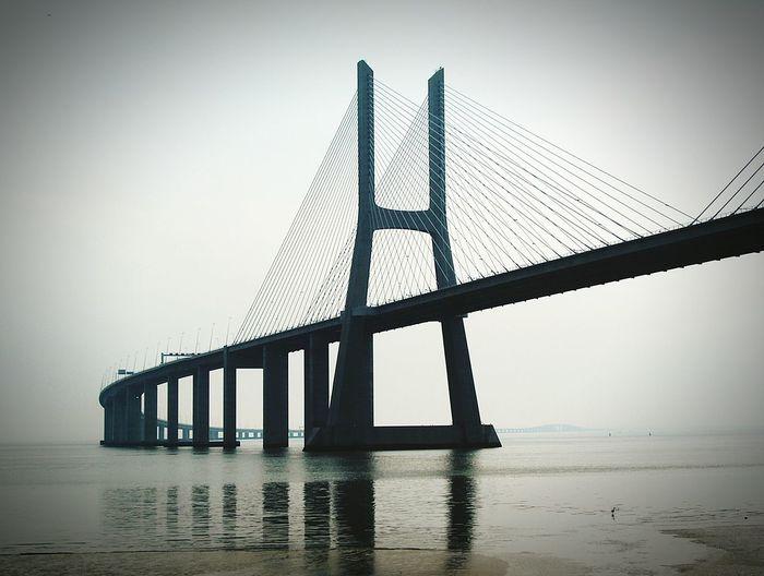Ponte Vasco Da Gama Lisbon Portugal Bridge Tagus River Rio Tejo Morning Fog Lisbonlovers Old Pic