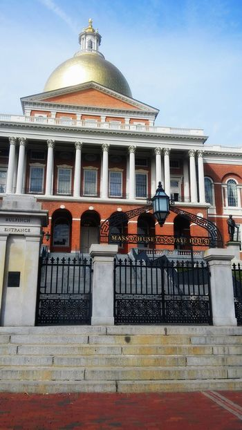Architecture Brick Building Exterior Built Structure Capital Column Culture Democracy Dome Façade Famous Place Golden Dome Government Government Building Historic Massachusetts Massachusetts State House No People Ornate Power Representation Stairs State State Senate Wrought Iron