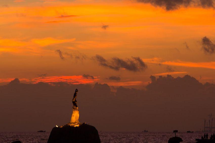 Sunrise Sky Orange Color Art And Craft Sculpture Statue Nature Cloud - Sky Water No People Sea Travel Destinations