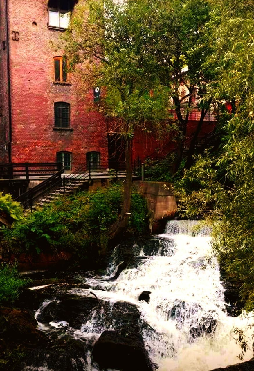 water, tree, architecture, nature, outdoors, river, motion, growth, building exterior, day, no people, beauty in nature, waterfall