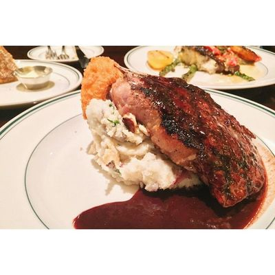 14oz. Blackberry Pork Chop for dinner is served 🎈👻 Thedailygrill Behungry SF foodporn wehavetowalkback random vsco