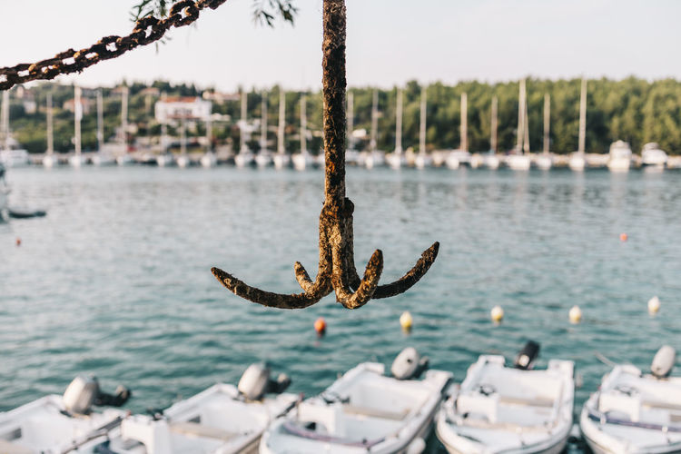 Rusty anchor with a harbour background