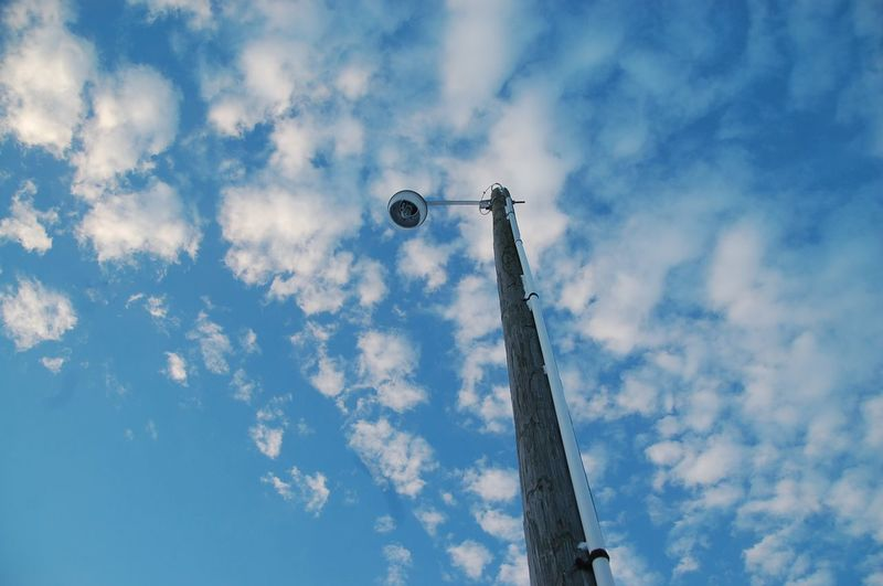 Low angle view of a street light with blue Sky & clouds Architecture Background Blue Built Structure Cloud - Sky Day Electrical Equipment Electricity  Lighting Equipment Low Angle View Megaphone Metal Nature No People Outdoors Pole Single Object Sky Street Street Light Tall - High Technology Wallpaper