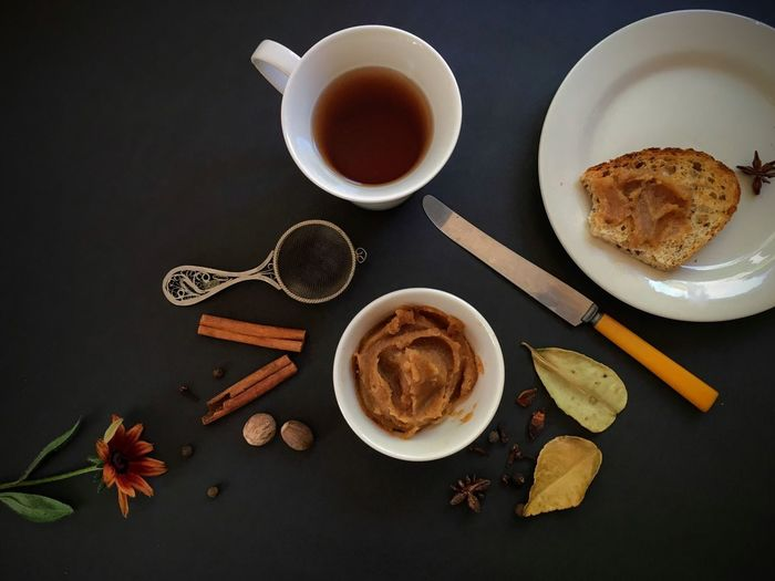 Food And Drink Directly Above Still Life Indoors  StillLifePhotography High Angle View Pearbutter Breakfast Arrangement Fall Season Healthy Eating DeliciousFood