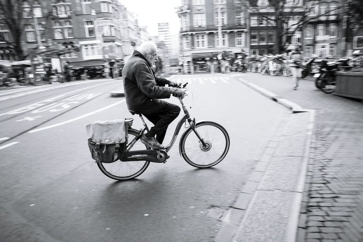 Transportation Mode Of Transport Land Vehicle City Bicycle City Life Street City Street Travel Road Motion Riding Travel Destinations EyeEm Best Shots Eye4photography  Bike Streetphotography Streetphoto_bw Blackandwhite Old Man