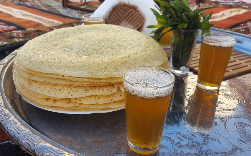 Stacked Pancakes And Beer On A Tray