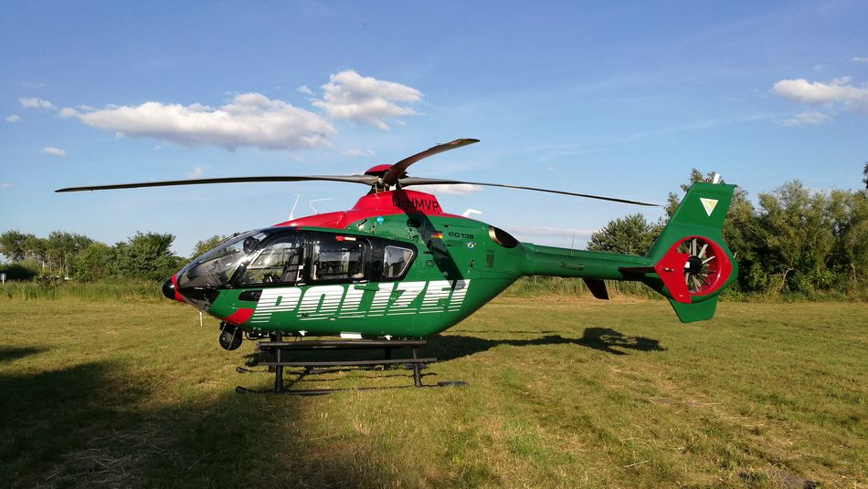 Helicopter Police Helicopter Rescue Services On A Field Malchow Mecklenburg