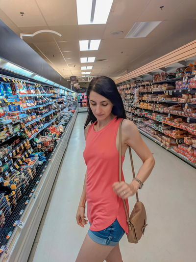 aisle Girl One Young Woman Only Slim Fit Girl Body Curves  Sexygirl Pale Erotic_photo Attractive Supermarket Shopping Groceries Tank Top Sexygirl Nips Sleeveless  Beauty Shorts Jeans Casual Beautiful Woman Seductive Young Women Standing Women My Best Photo