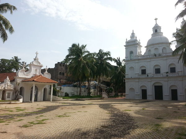 Architecture Bell Tower Building Exterior Built Structure Calangute Church Cross Day Dome Goa Goadiaries History India IPhone No People Outdoors Place Of Worship Religion Sky Spirituality Tree