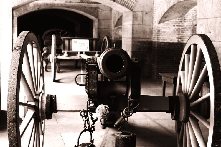 Old cannon in building
