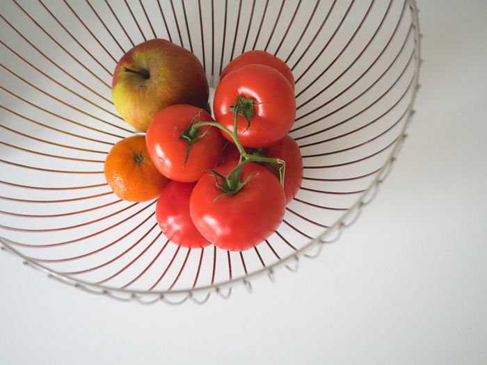 Apple Basket Close-up Day Food Food And Drink Freshness Fruit Healthy Eating High Angle View Indoors  Ingredients Minimalism No People Table Tomatoes