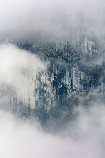 High angle view of cityscape during foggy weather