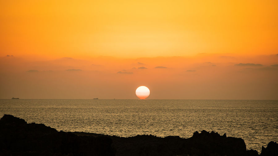 Sky Sea Water Beauty In Nature Sunset Horizon Over Water Tranquil Scene Nature Sun Landscape Okinawa Japan Travel Traveling