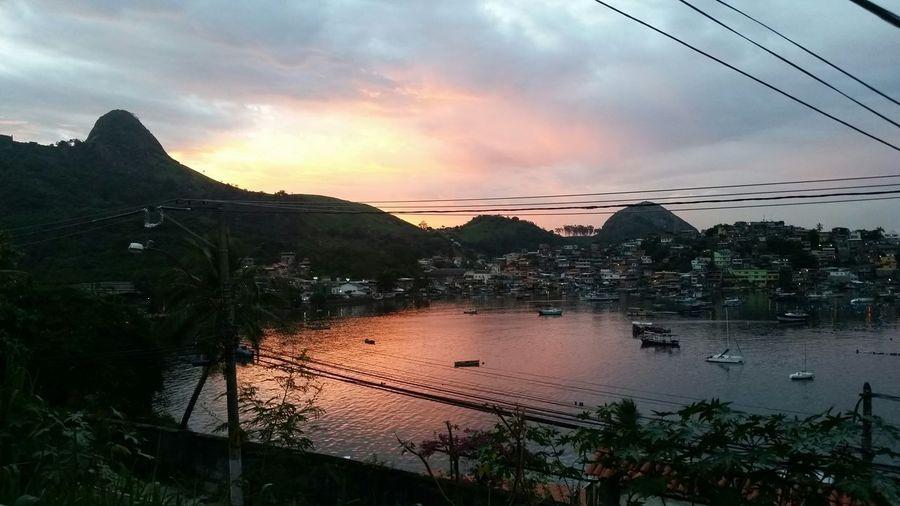 Céu E Mar Meu Lugar Jurujuba Landscape Nightfall Anoitecer Niterói Sea Pink Mountain Cove Sunset Rio De Janeiro