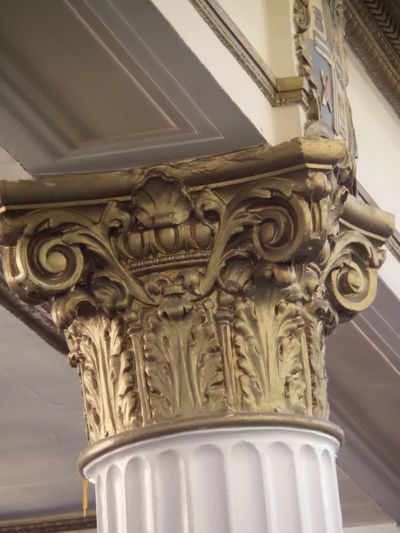 Architectural Feature, Close-up Copy Space. Decorative Column. Gold. Greek Column. History. Interior. Ionic Column. No People, Support Column White Column.