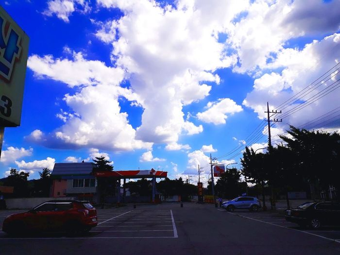 하늘 길 Korea 풍경 하늘 구름 필터 Blue Sky Blue Treval Road Land Vehicle Car City Tree Sky Architecture Building Exterior Cloud - Sky