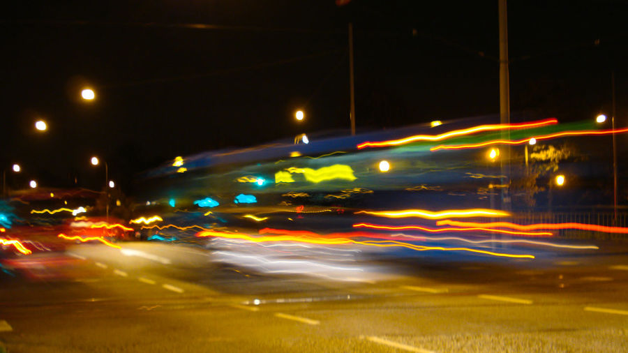 Blurred Blurred Motion Light Trail City Bus Streetphotography Nightphotography 2007 Night Illuminated Car Traffic No People Outdoors City
