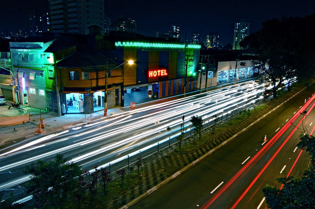 Long Exposure Light Trails Light Trail Nightphotography Sampa Streetphotography Night Illuminated Outdoors Nightlife Building Exterior City No People Architecture Neon Sky