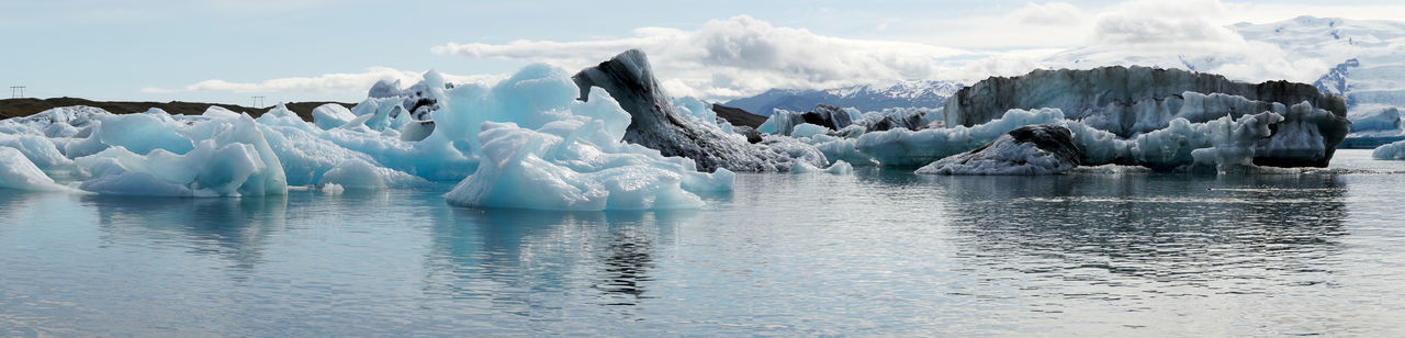 Panorama view from the Glacier lagoon Jökulsarlon in Iceland Beautiful Iceland Panorama Panoramic Beauty In Nature Cold Temperature Environment Floating On Water Frozen Glacier Ice Iceberg Lagoon Landscape Mountains Nature Outdoors Scenics - Nature Sea Sky Volcanic  Water Wide Shot