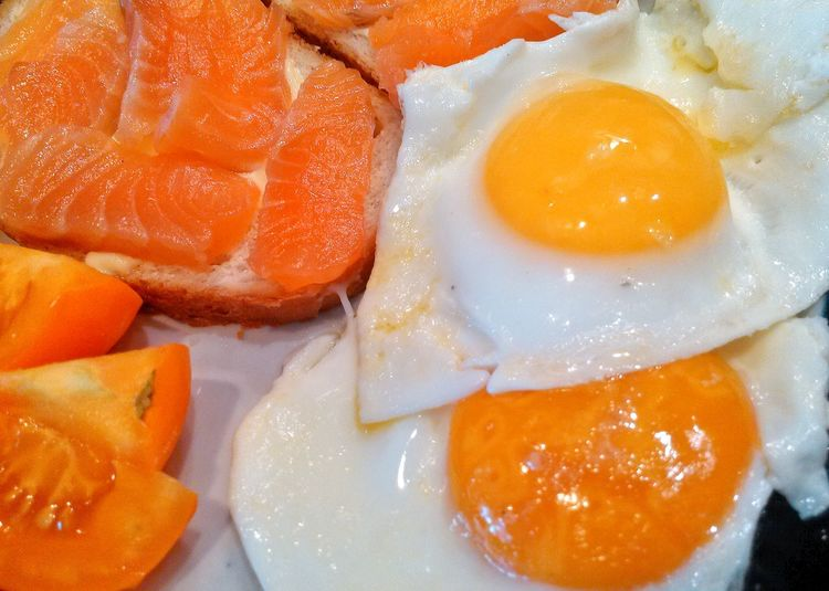 Food Freshness Healthy Eating Orange Color Food And Drink Egg Yolk Fried Egg Indoors  Close-up Ready-to-eat Salmone Tomato Breakfast Day Eating Healthy Eating Home Lush - Description Egg
