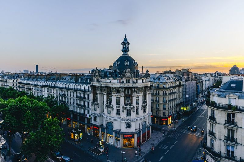 Waiting the green Sunset_collection Sunset Exploring New Ground Exploring Exploring Rooftop Roof Paris, France  Paris Architecture Building Exterior Built Structure High Angle View City Sunset Outdoors Sky Transportation Travel Destinations Cityscape Day