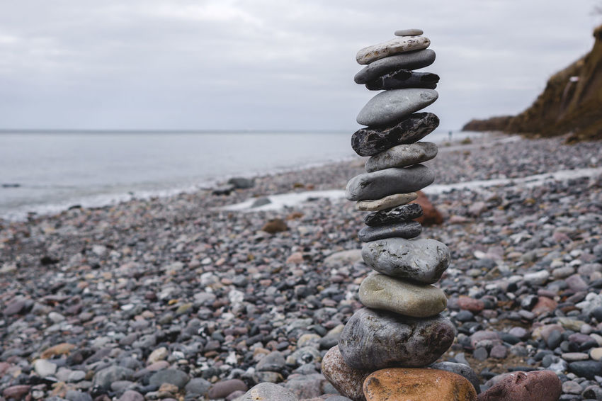 Meditation Quiet Moments Quiet Places Balance Beach Beauty In Nature Close-up Day Focus On Foreground Horizon Over Water Nature No People Outdoors Pebble Pebble Beach Rock - Object Scenics Sea Sky Stack Stack Of Stones Stone - Object Tranquility Vacation Water