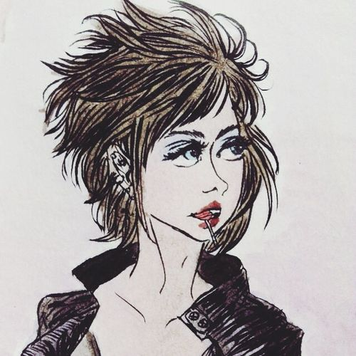 Girl Style Colorful Punk Ilustration Watercolor Art