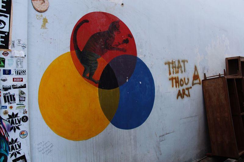 Street Art Urban Art Sprayart Stickerbomb in Georgetown Penang Malaysia