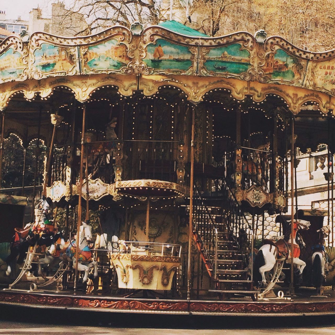Carousel in amusement park