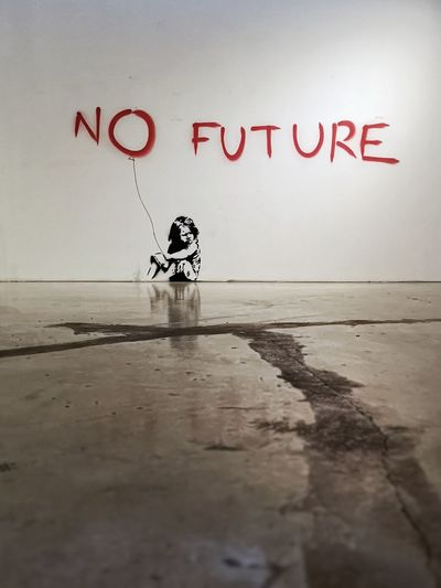 Banksy Kids Being Kids Banksyart Children Photography Creativity Future Girl Indoors  Message No Future Sad Situation Thinking About Life