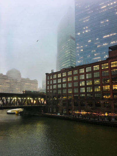"Foggy Chicago evening as elevated ""el"" train passes over the river and a bird flies overhead. Waysofseeing Chicago El Chicago Loop Downtown Chicago Elevated Track Moving Rush Hour Transit Transportation Architecture Bird Bridge Bridge - Man Made Structure Building Exterior Built Structure City Cityscape Commute Elevated Train Flying Flying Bird Lake Street Seagull Sky Skyscraper Water"