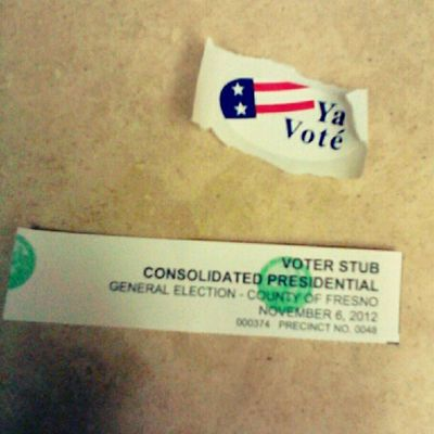I voted! My sticker is in Spanish cuz they ran out of ones in English. Still legit though! #election #election2012 #obama #romney #ivoted #voteordie #rockthevote #vote #vote2012 Election Obama Vote Election2012 Rockthevote Romney Ivoted Voteordie Vote2012
