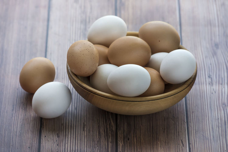 High angle view of eggs in container on table