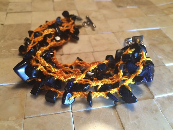 Black And Orange Bracelet Handmade By Me Handmade Jewellery High Angle View Orange Color