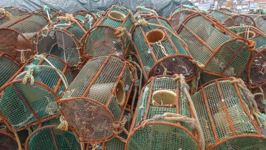 Full frame shot of fishing net in sea