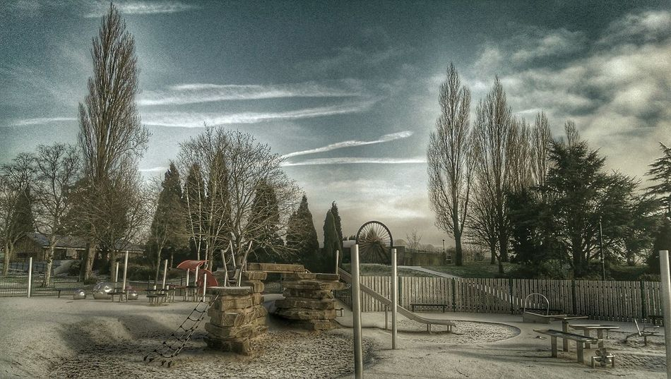 Empty Places Park Life Playgrounds Playtime Sky And Clouds Tree Porn Skyporn Snow Walking Around Hdr Edithdr