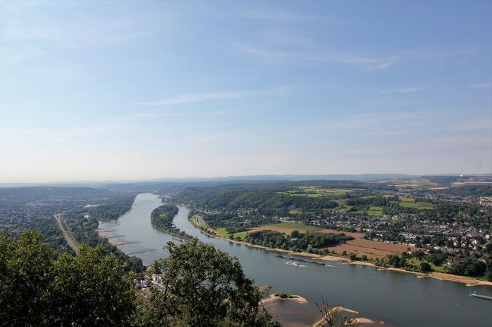 Scenic View from Drachenfels Mountain onto Königswinter and Rhine Valley Drachenfels Drachenfels Siebengebirge Königswinter Königswinter Am Rhein Rhine Valley Travel Photography Beauty In Nature Day Drachenfels Am Rhein Nature Outdoors Scenic Germany Scenic Landscape Scenic Rhine Valley Sky Tourism Germany Travel Blog Travel Destinations Travel The World Water