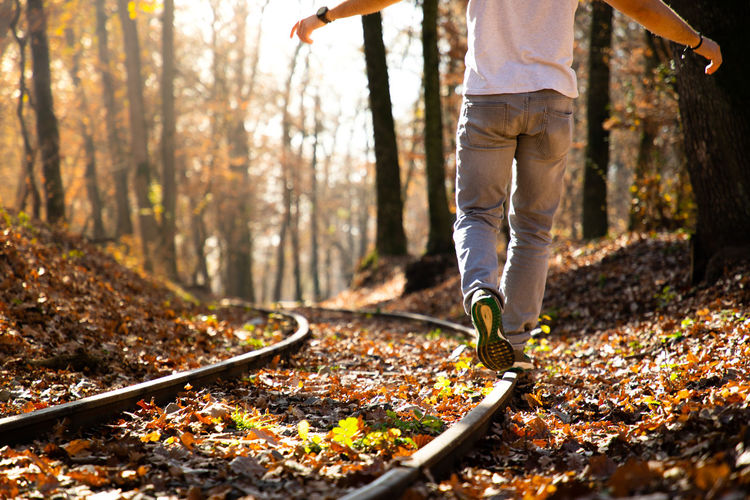 Low section of man walking on railroad track in forest