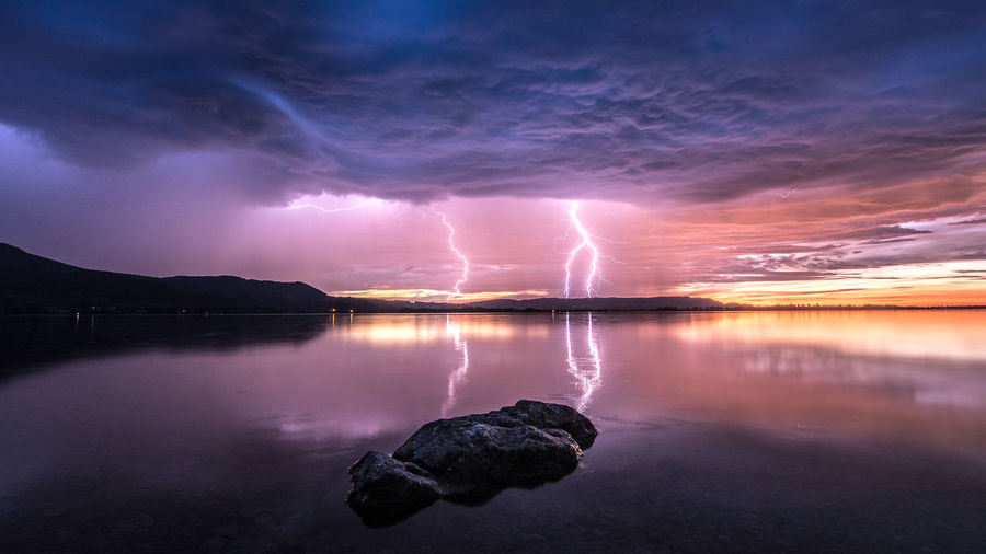 Bavaria Bavarian Alps Beauty In Nature Cloud - Sky Dramatic Sky Forked Lightning Germany Kochelsee Lightning Lightning Bolt Lightning Storm Nature Night No People Outdoors Power In Nature Reflection Scenics Sky Storm Cloud Sunset Thunderstorm Tranquility Water