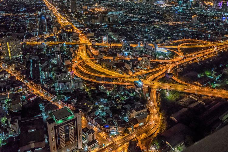 Aerial Shot Of Illuminated Cityscape