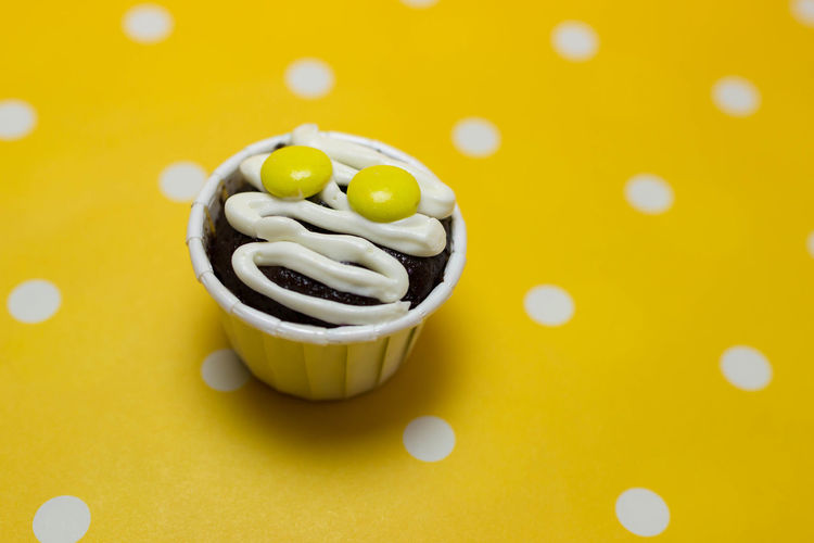 Cupcakes Cupcakes Close-up Food Food And Drink High Angle View Indoors  Still Life Sweet Sweet Food Temptation Yellow Yellow Background