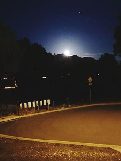 Moon Illuminated Astronomy Road Sky Full Moon