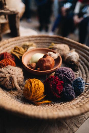 Close up shot of yarn and wool