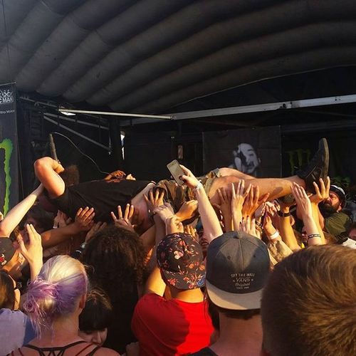 @joelquartuccio crowdsurfing at the Tinley Park, IL Warped Tour show. Beingasanocean Baao Warpedtour Metalcore Metal Music Photo Crowdsurfing