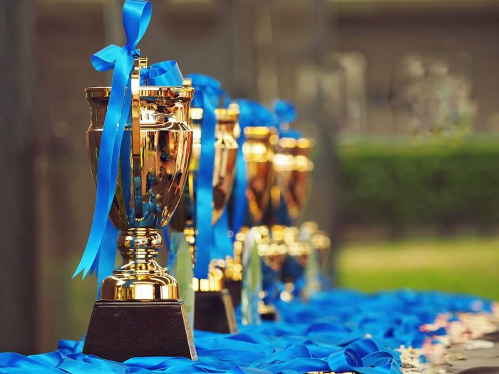 Close-up of gold trophies with blue ribbons on table