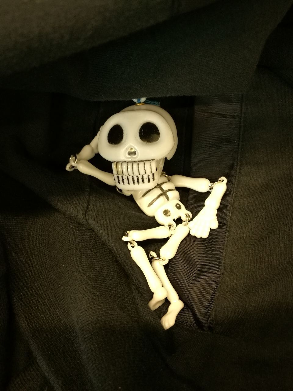 indoors, spooky, horror, bed, human bone, skeleton, night, stuffed toy, halloween, close-up, bedroom, one person