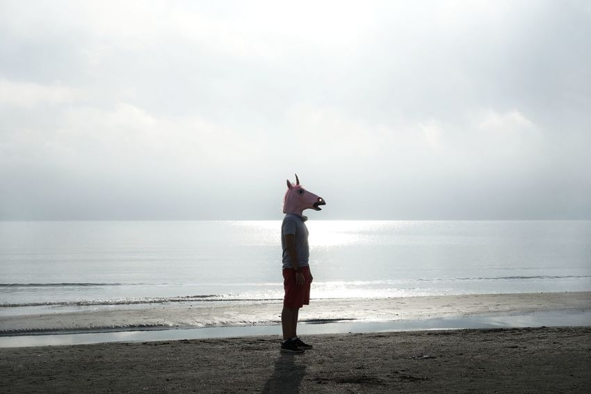 No Filter Unicorn Unicorn Head One Person One Man Only Man Sea Full Length Beach Water Standing Portrait Sky Horizon Over Water Foggy Seascape Calm Coast Wave