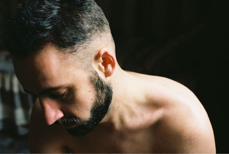 35mm Film Filmisnotdead Film Photography Film Beard Men Real People Human Body Part Handsome Black Background Masculinity Looking Adult Facial Hair Portrait Muscular Build Indoors